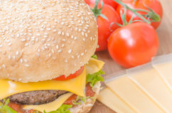 Tasty cheeseburger with lettuce, beef, double cheese and ketchup. Stock Photos