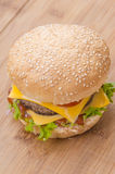 Tasty cheeseburger with lettuce, beef, double cheese and ketchup. Stock Images
