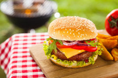 Tasty cheeseburger with melted cheddar Royalty Free Stock Image