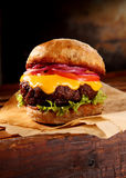 Tasty cheeseburger with salad trimmings Royalty Free Stock Photo