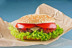 Tasty cheeseburger with tomatoes and fresh green lettuce on blue Stock Photos