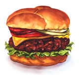 Tasty cheeseburger. Watercolor painting on white background Royalty Free Stock Image