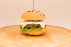 Tasty cheeseburger on a wooden board. Tasty cheeseburger with tomatoes, cucumbers and green salad on a wooden board  on a white background Royalty Free Stock Image