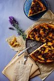 Tasty cheesecake with chocolate biscuits and honey. Decoration of honey and lavender royalty free stock images