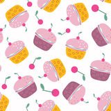 Tasty Cherry Cupcakes Seamless Pattern. Repeatable background with sweet cakes with cream and red cherries. Abstract food design. Muffins with berries dessert Royalty Free Stock Photo