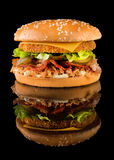 Tasty Chicken Burger on a Black Background with Reflection Stock Photos