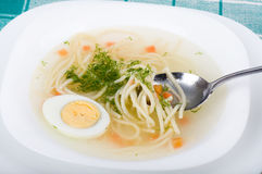 Tasty chicken clear soup with egg Royalty Free Stock Photography