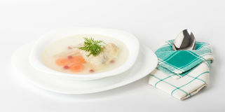 Tasty chicken clear soup with hen wing Royalty Free Stock Photos