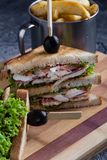 Chicken club sandwich. Tasty chicken club sandwich with fries on wooden table royalty free stock photos
