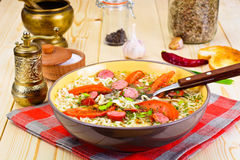 Tasty Chicken Soup with Chinese Noodles Stock Image