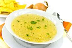 Tasty chicken soup with noodles royalty free stock photography