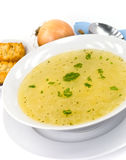 Tasty chicken soup with noodles royalty free stock image