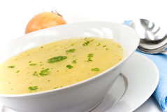Tasty chicken soup with noodles stock photos