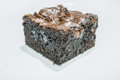 Tasty Chocolate Brownies on White Background Stock Photos