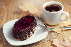 Tasty chocolate cake and coffee cup Royalty Free Stock Image