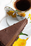 Tasty a chocolate cheese cake with cup of coffee Stock Photography