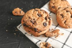 Tasty chocolate chip cookies on napkin stock photo