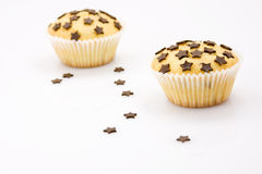 Tasty chocolate chip muffin. Chocolate chip muffins on white background royalty free stock image
