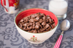 Tasty chocolate cornflakes in thel bowl Stock Photo