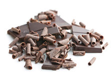 Tasty chocolate curls. Royalty Free Stock Images