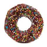 Tasty chocolate donut isolated on white background Stock Images