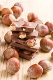 Tasty chocolate with hazelnuts Stock Image