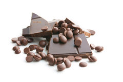 Tasty chocolate morsels. Stock Photos