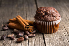 The tasty chocolate muffin. Royalty Free Stock Photo