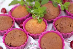 Tasty chocolate muffins. Tasty fresh chocolate muffins with ripe berries of cherry stock images