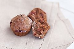 Tasty chocolate muffins. Tasty fresh chocolate muffins with ripe berries of cherry royalty free stock photos