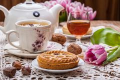 Tasty chocolate walnut tart. stock photo
