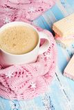 Tasty Christmas coffee or cocoa and sweet cookies on blue wooden background. And pink tablecloth. Copy space Stock Photo