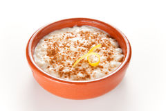 Tasty cinnamon rice pudding dessert Stock Photo