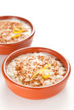 Tasty cinnamon rice pudding dessert Stock Images