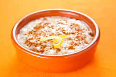 Tasty cinnamon rice pudding dessert Royalty Free Stock Photos