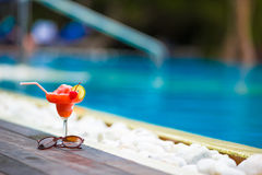 Tasty cocktail background swimming pool Stock Images