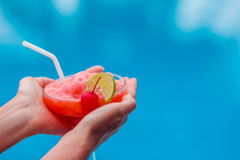 Tasty cocktail background swimming pool Stock Photo
