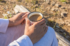 Free Tasty Coffee Consumed With Delight In Nature By Adult Woman Royalty Free Stock Photography - 96874137