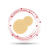 Tasty cokkie white with circles and hearts design. Illustration Stock Photo