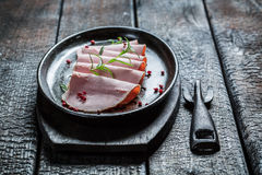 Tasty cold cuts on buried board Royalty Free Stock Image