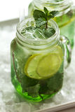 Tasty cold fresh drink lemonade with lemon, mint, ice and lime i Stock Photography