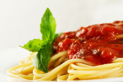 Tasty colorful appetizing cooked spaghetti italian pasta with to Stock Photo