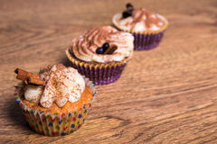 Tasty colorful cupcakes with butter cream and cinnamon Stock Photos