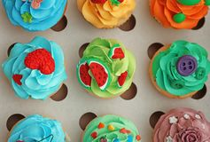 Tasty colorful cupcakes in open box. Tasty colorful cupcakes in open paper box Stock Photos