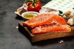 Tasty colorful Food Background with fresh Raw Fish Salmon and Co Royalty Free Stock Images
