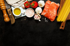 Tasty colorful Food Background with fresh Raw Fish Salmon and Co Royalty Free Stock Photo