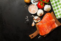 Tasty colorful Food Background with fresh Raw Fish Salmon and Co Royalty Free Stock Photos