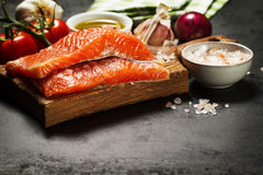 Tasty colorful Food Background with fresh Raw Fish Salmon and Co Stock Photo