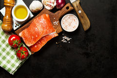 Tasty colorful Food Background with fresh Raw Fish Salmon and Co Royalty Free Stock Image