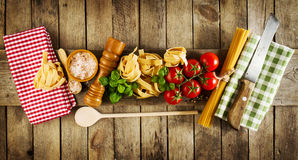 Tasty Colorful Fresh Italian Food Concept with Various Pasta Spa Royalty Free Stock Image